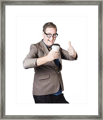 Thumbs Up Beverage Man. Good Coffee Framed Print