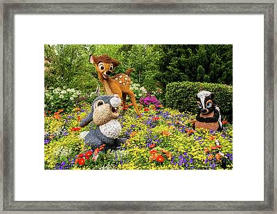 Thumper With Bambi And Flower Framed Print by Zina Stromberg