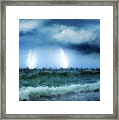 Thunder And Lightning At Sea Framed Print by Michael Greenaway