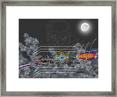 Framed Print featuring the digital art Thunder Gun Of The Dead by Iowan Stone-Flowers