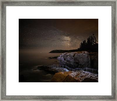 Thunder Hole Under The Stars Framed Print by Brent L Ander