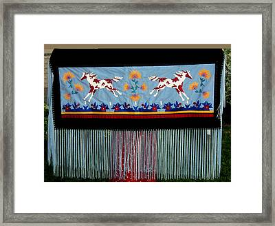 Framed Print featuring the tapestry - textile Thunder Pony by Chholing Taha