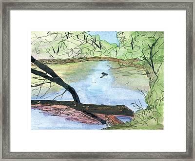 Thunder Woman Park River Scene Framed Print