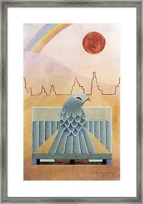 Thunderbird And Rainbow Framed Print by Sally Appleby