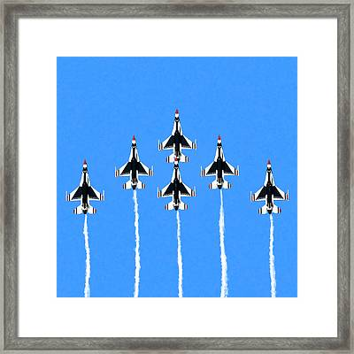 Framed Print featuring the mixed media Thunderbirds Flying In Formation by Mark Tisdale