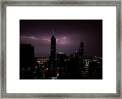 Thunderbolts Across The Sky Framed Print