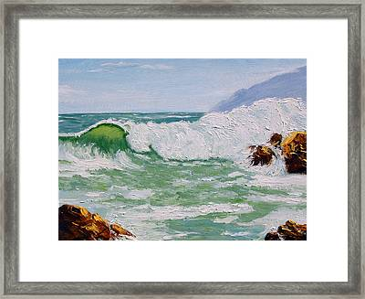 Thundering Surf Framed Print by Lorraine Foster
