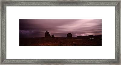 Thunderstorm Over A Landscape, Monument Framed Print