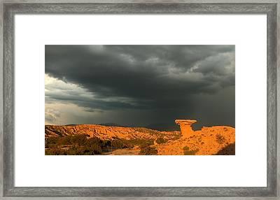 Thunderstorm Over Camel Rock Framed Print