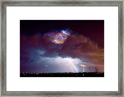 Lightning Thunderstorm Over Dacono Framed Print by James BO  Insogna