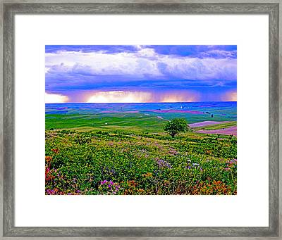 Thunderstorm Over The Palouse Framed Print
