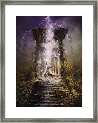 Framed Print featuring the digital art Thunderstorm Wizard by Uwe Jarling