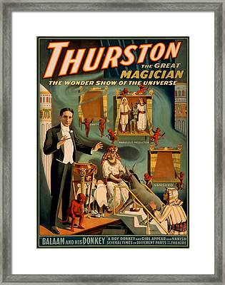 Thurston The Great Magician Wonder Show Framed Print by David Wagner