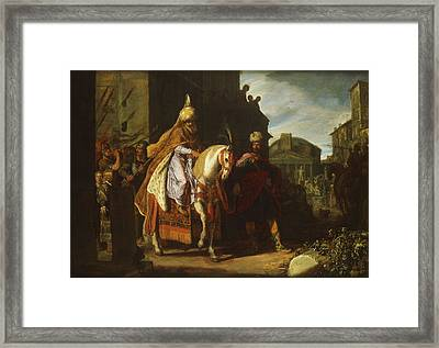 thwarted a conspiracy against King Ahasuerus Framed Print
