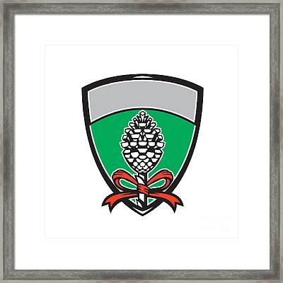 Thyrsus Pine Cone Staff Leaves Crest Retro Framed Print