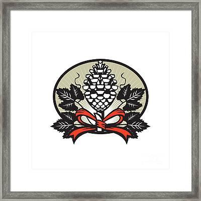 Thyrsus Pine Cone Staff Leaves Oval Retro Framed Print