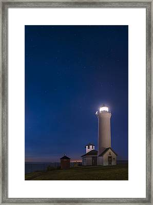 Framed Print featuring the photograph Tibbets Point Light Night by Mark Papke