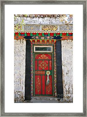 Tibet Red Door Framed Print