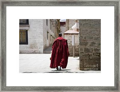 Tibetan Monk Framed Print by Kalpana Geisenheyner