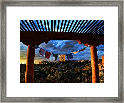 Tibetan Prayer Flags Outside My Office At Sundown Framed Print