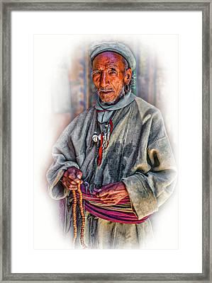 Tibetan Refugee - Vignette Framed Print by Steve Harrington