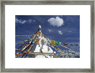 Tibetan Stupa With Prayer Flags Framed Print