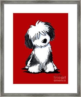Tibetan Terrier On Red Framed Print by Kim Niles