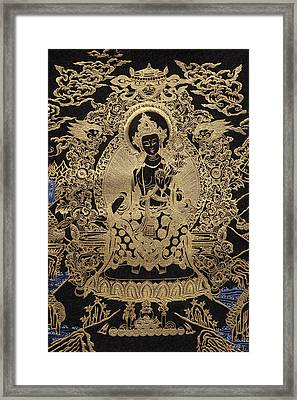 Tibetan Thangka  - Maitreya Buddha Framed Print by Serge Averbukh