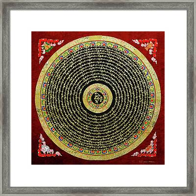 Tibetan Thangka - Om Mandala With Syllable Mantra Over Red Framed Print
