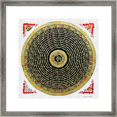 Tibetan Thangka - Om Mandala With Syllable Mantra Over White Leather Framed Print