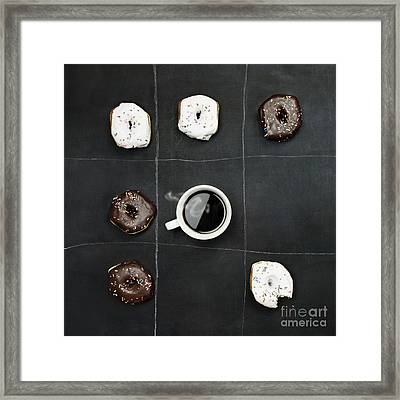 Framed Print featuring the photograph Tic Tac Toe Donuts And Coffee by Stephanie Frey