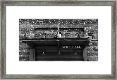 Ticket Will Call Window At Fenway Park Framed Print