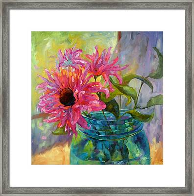 Framed Print featuring the painting Tickled Pink by Chris Brandley