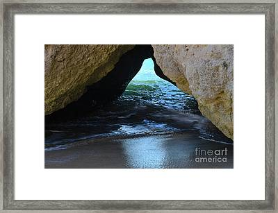 Tidal Waves In The Cave Of Albandeira Framed Print by Angelo DeVal