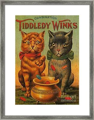 Tiddledy Winks Funny Victorian Cats Framed Print