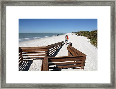 Tide Of Sand Over A Ramp On The Beach In Naples Florida Framed Print