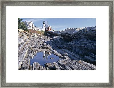 Tide Pool Reflection Pemaquid Point Lighthouse Maine Framed Print by George Oze