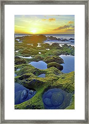Framed Print featuring the photograph Tide Pools At Sunset by Tara Turner