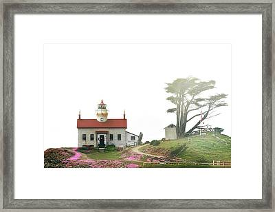 Tides Of Battery Point Lighthouse - Northern Ca Framed Print by Christine Till