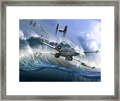 Battle Over Kamino - The Tie Dal Wave Framed Print by Kurt Miller
