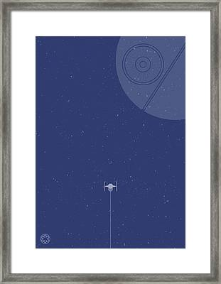 Tie Fighter Defends The Death Star Framed Print by Samuel Whitton