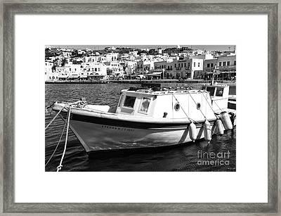 Tied Up In Mykonos Town Mono Framed Print by John Rizzuto