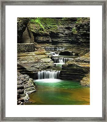 Tiered Waterfalls At Watkins Glen Framed Print by Optical Playground By MP Ray