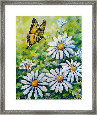 Tiger And Daisies  Framed Print