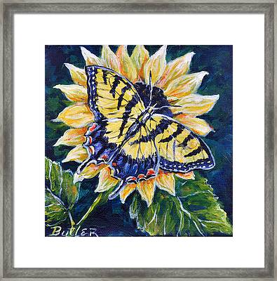 Tiger And Sunflower Framed Print by Gail Butler