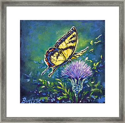 Tiger And Thistle 1 Framed Print by Gail Butler