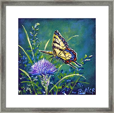 Tiger And Thistle 2 Framed Print by Gail Butler