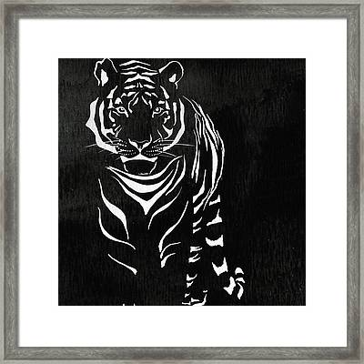 Tiger Animal Decorative Black And White Poster 15 - By Diana Van Framed Print