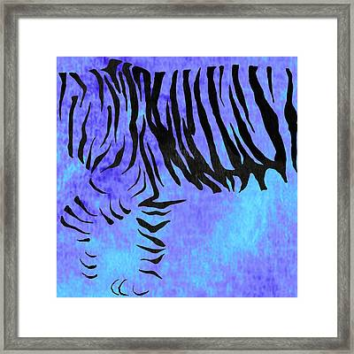 Tiger Animal Decorative Blue Poster 2 - By Diana Van Framed Print by Diana Van