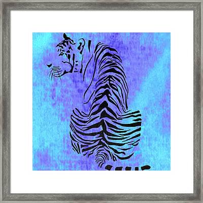 Tiger Animal Decorative Blue Poster 4 - By Diana Van Framed Print by Diana Van